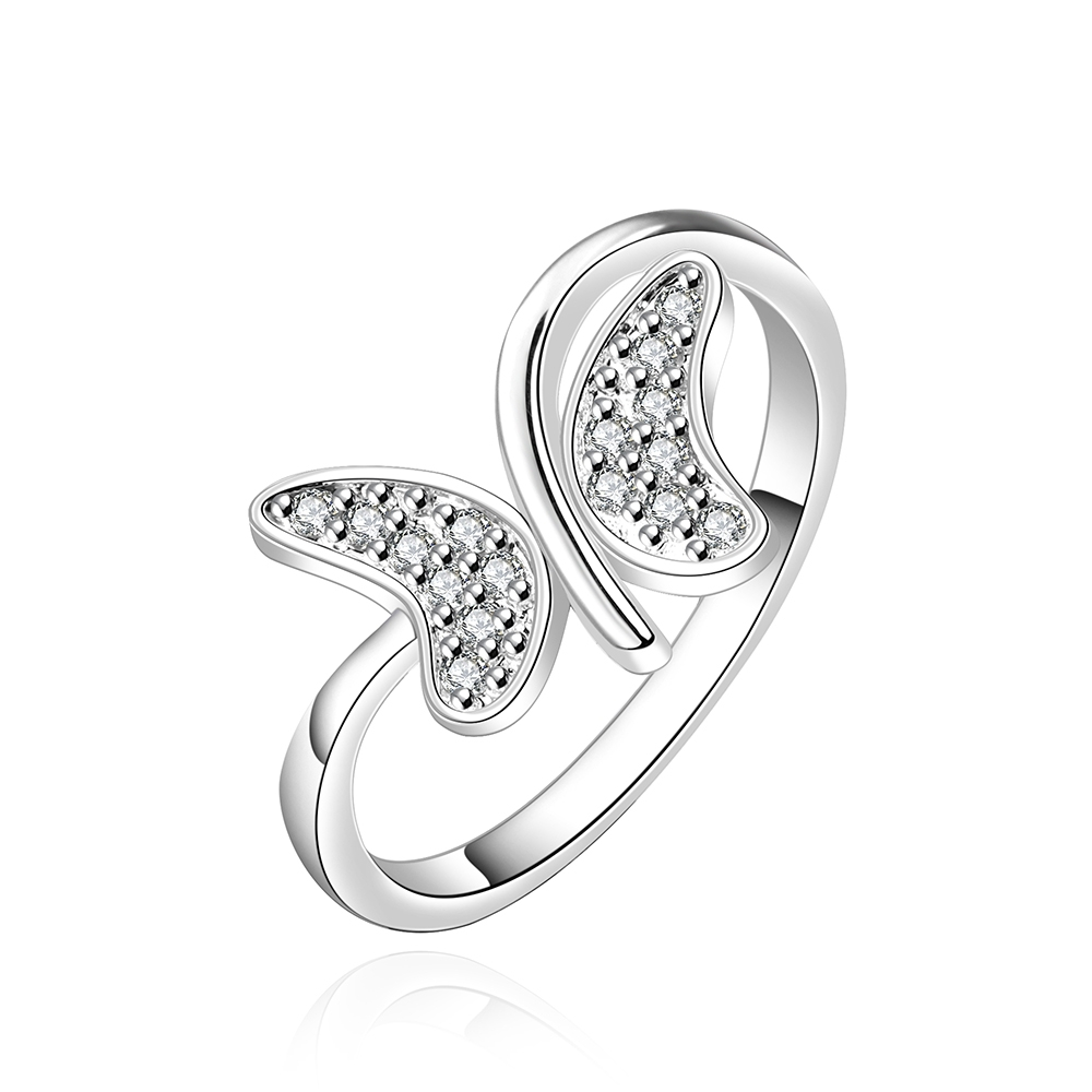 925 sterling silver rings for women crystal butterfly clear crystal plated ring romantic natural stone gifts for women  r599 mariposa en plata anillo