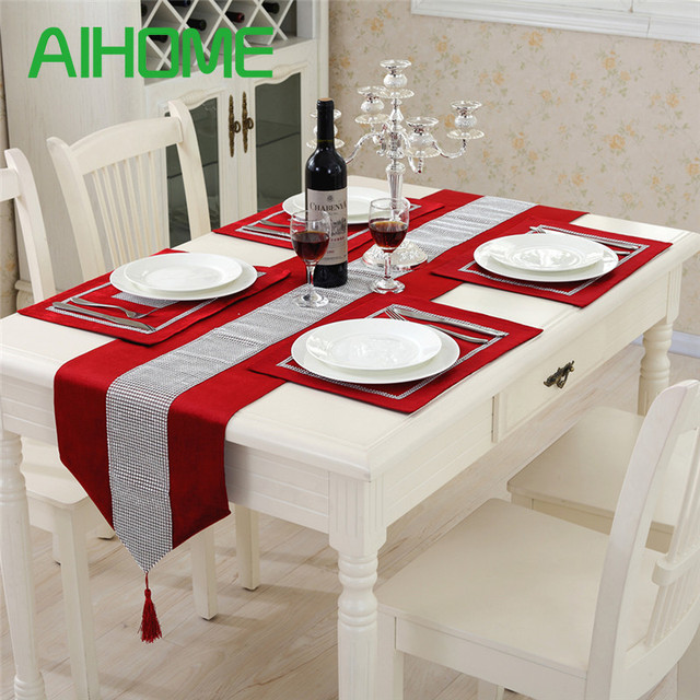 Fashion Elegant Table Runners Rhinestone Technology Cotton Linen Polyester  Fabric European Pattern Home Decoration
