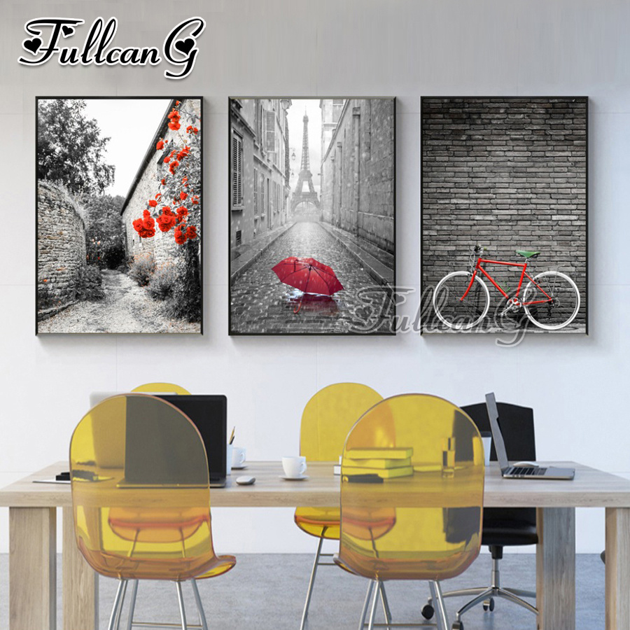 FULLCANG diy diamond painting umbrella & bicycle triptych mosaic cross stitch rhinestone embroidery full square drill G1025