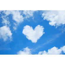 Laeacco Valentines Day Blue Sky White Love Hearts Clouds Scene Photography Backdrops Photographic Backgrounds For Photo Studio