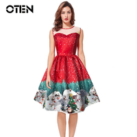 OTEN Women Sleeveless Mesh Lace Patchwork Casual Printed Vintage Retro 50s 60s Rockabilly Pin Up Skater
