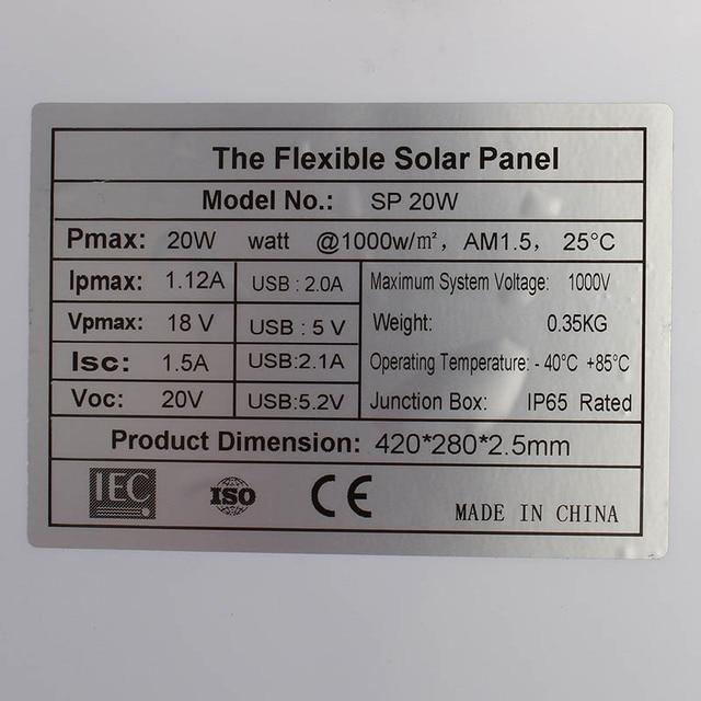 20W 12V 5V DC Waterproof Battery Solar Panel 1