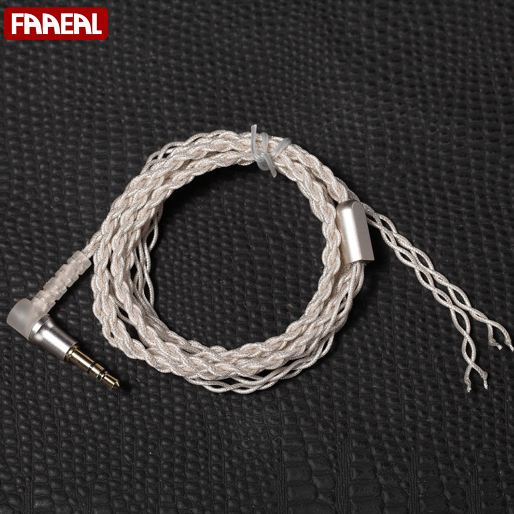 FAAEAL 1.2M 4 core Woven silver plated wire DIY Earphone Cable ...
