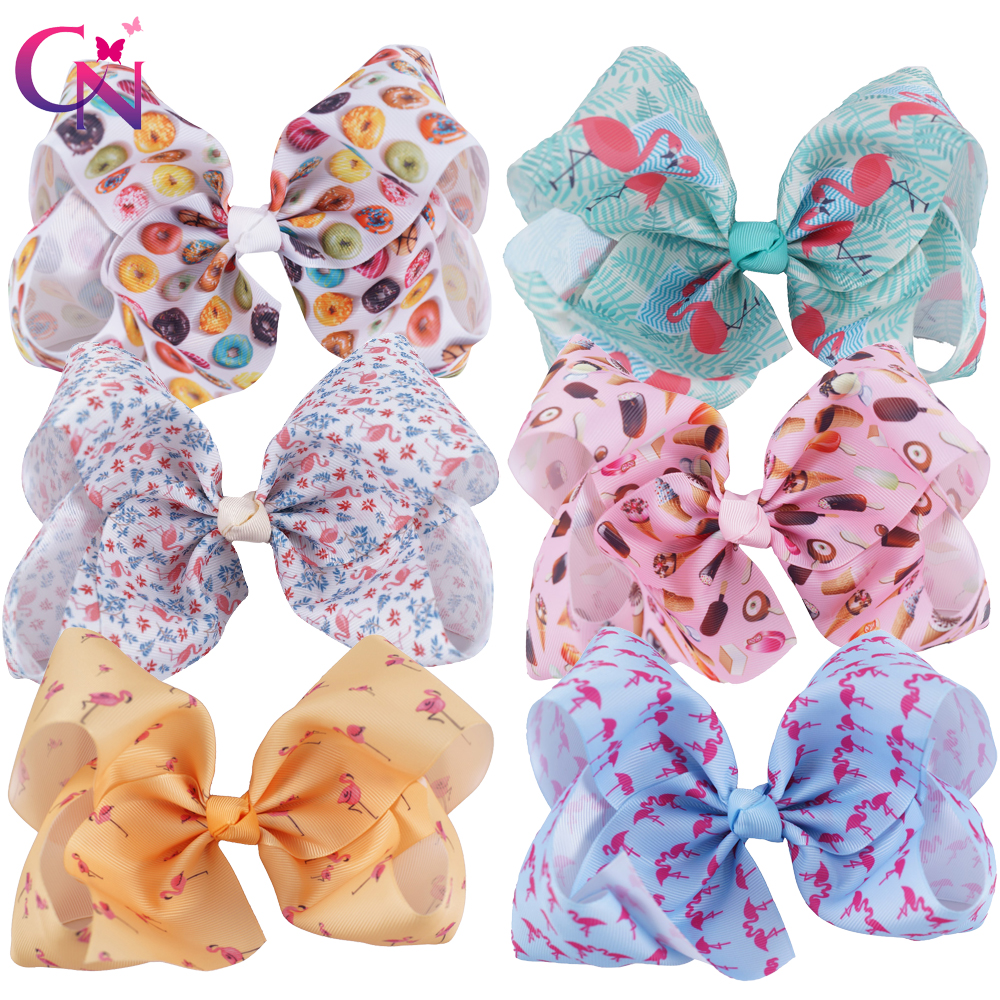 6 Pieces/lot 7 Flamingo Hair Bows With Clips For Kids Girls Boutique Large Printed Ribbon Knot Bows Hairgrips Hair Accessories 40pcs lot 30 colors 4inch hair bows kids girls hair clips boutique bows hairpins for kids children kids girl hair accessories