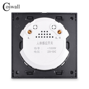 Image 3 - Coswall Crystal Tempered Glass White Panel Human Body Motion Sensor Wall Switch Adjustable Time Delay And Induction Distance