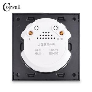 Image 3 - Coswallクリスタル強化ガラス白パネル人体モーションセンサー壁スイッチ調整可能な時間遅延と誘導距離