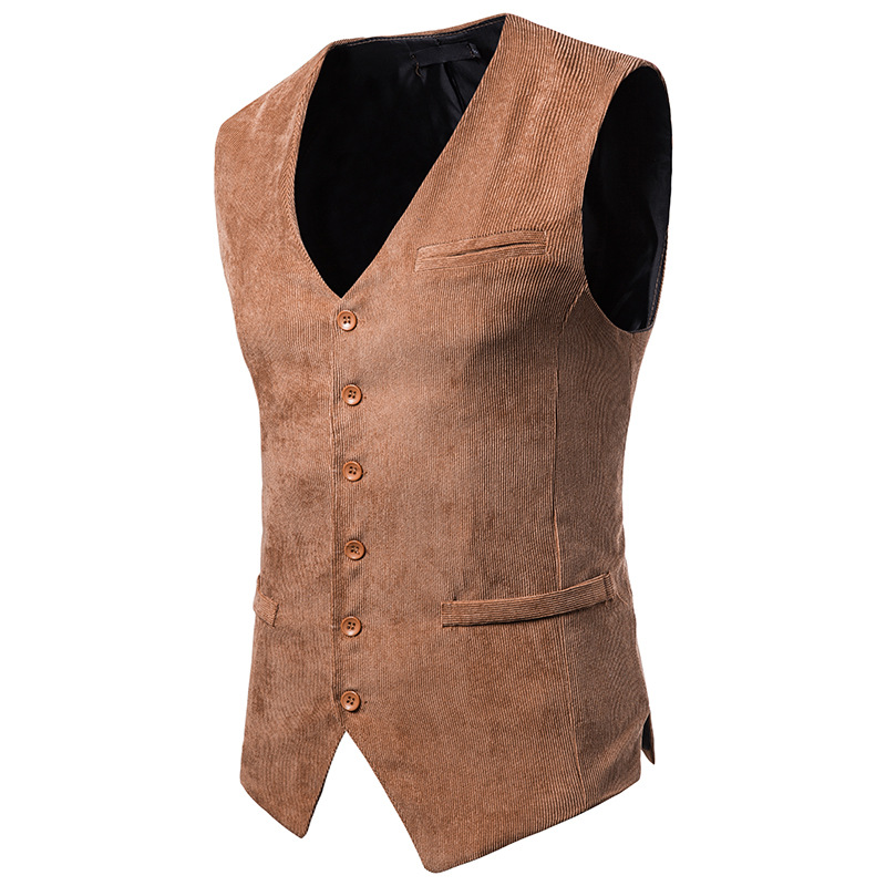 2018 Mens Classic Corduroy Vest Casual Slim Fit Suit Vests Single Breasted Sleeveless Waistcoat Homme Business Colete Masculino