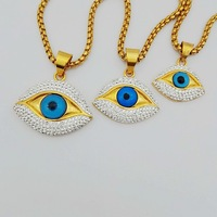 316L Stainless Steel Blue Crystal Evil Eye Hand Hamsa Pendant Necklace Womens Silver Gold Color Jewelry