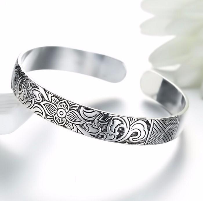 Lotus Thai Silver Bangle Bracelet - Jbr4*