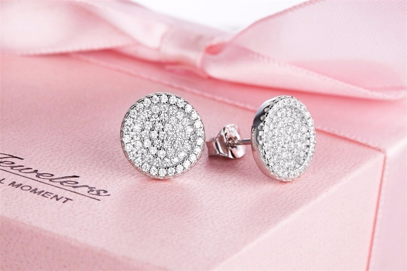 925-sterling-silver-jewelry,White Crystal Zircon Earrings Stud Earrings For Women 925 Sterling Silver Earrings Fashion Jewelry (5)