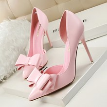 Women Fashion Pumps Bow Wedding Shoes Pointed Toe Slip-On Shallow Side Hollow 10.5cm Thin High Heels Ladies Party Female Shoes