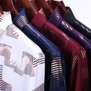 Image 5 - MIACAWOR chemise à manches longues pour hommes, vêtement imprimé, grande taille, style chemises décontractées, C457