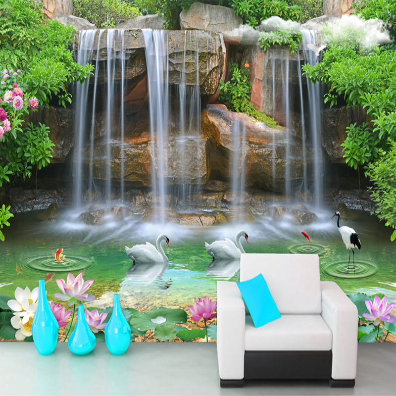 Custom Photo Wall Paper 3D Stereoscopic Waterfall Landscape Painting Living Room Sofa TV Background Wallpaper For Bedroom Walls