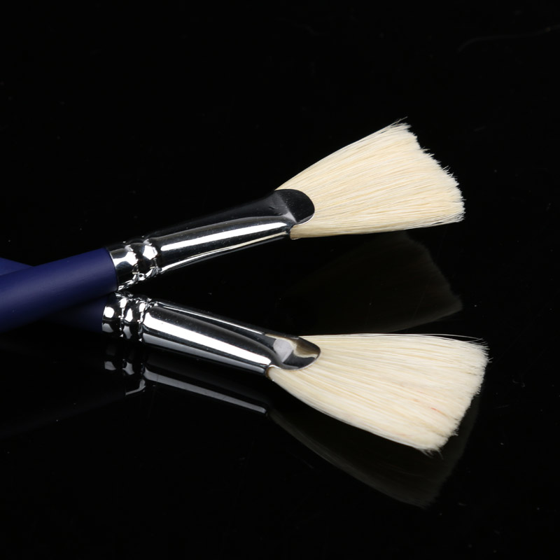 1PCS Pig Bristle Artist Oil Painting Brushes Set Drawing Art Supplies Fan-shaped Powder Oil Painting Pen For Acrylic Color Test