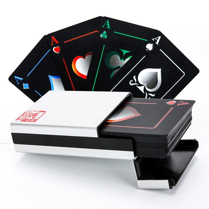 2016 Cadeau De Noël Noir Elf Poker Cartes À Jouer, papier/Boîte En Métal pour Le Choix, prime Noir En Plastique Étanche Poker Cartes