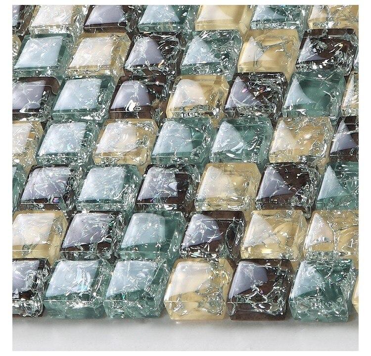 square ice crackle glass mosaic tiles kitchen backsplash tile bathroom shower fireplace hallway tiles