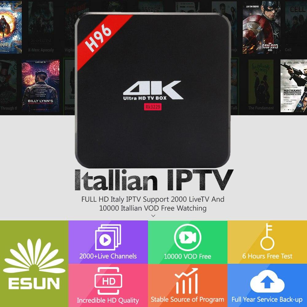 ESUNTV 1 Year IPTV included H96 RK3229 Europe IPTV Italy ITALY EPG vod Netherland Sweden US IPTV Android Tv BOX italy iptv a95x pro voice control with 1 year box 2g 16g italy iptv epg 4000 live vod configured europe albania ex yu xxx