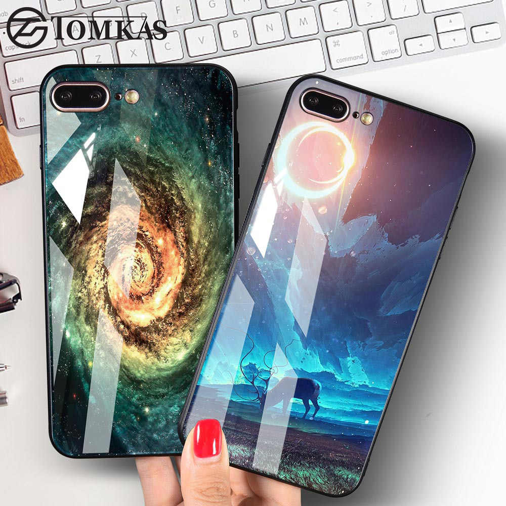 TOMKAS Space Star Case For iPhone X 10 Case PC+Tempered Glass Patterned For iPhone 7 6 S 6s 8 Plus Cases Silicone Edge Cover