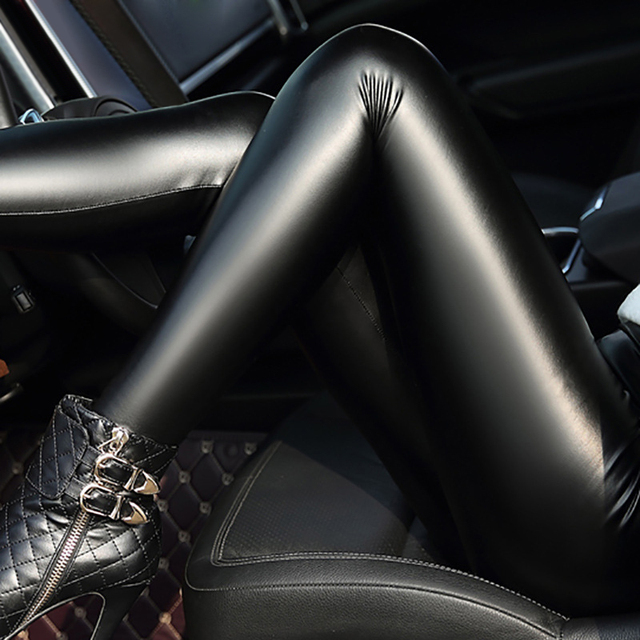 62911bc0cb367b 2017 New Winter Womens Sexy Thickening PU Leather Leggings Skinny Strecthy  Pencil Pants Faux Leather Pantalons Femme LG85