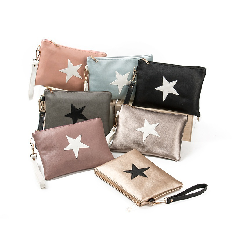 new five pointed star printing handbag day clutches super slight mini envelop bag casual leisure holiday pu handbag in Clutches from Luggage Bags