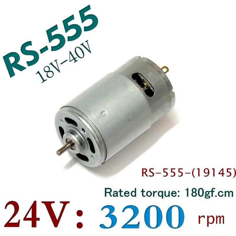 RS-555 Big Torque 24V 555 DC Motor 18V 40V Magnet DC With Cooling Fan 180gf.cm DIY MOTOR RS-555-(19145)