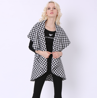 European Fashion Women Casual Vest New Plover Case Vest Shawls Long Vest Sleeveless Trench Spot Houndstooth Poncho Overcoat