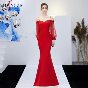 Image 4 - YIDINGZS ללא משענת אפליקציות ואגלי ארוך שמלת ערב רצועת פורמליות ערב המפלגה שמלת YD0801