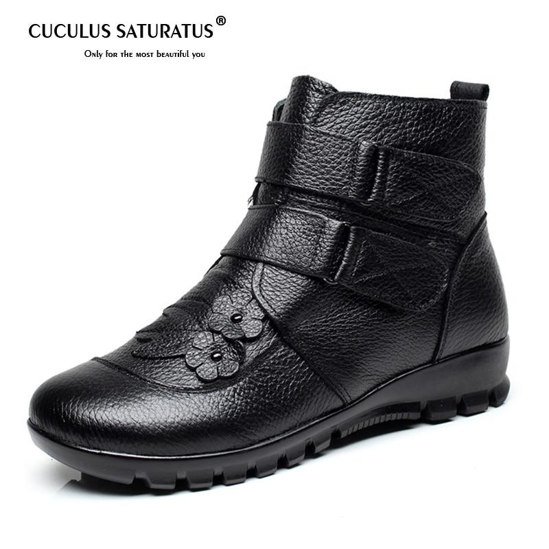 Cuculus Women Genuine Leather Ankle Warm Boots Hook & Loop Flower Wedges Boots Warm Shoes Winter Short Botas Women Footwear 1670