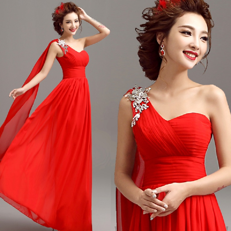 2019 new arrival stock pregnent women plus size bridal gown red <font><b>evening</b></font> <font><b>dress</b></font> Luxury Diamond <font><b>Sex</b></font> one shoulder floor length 2668 image