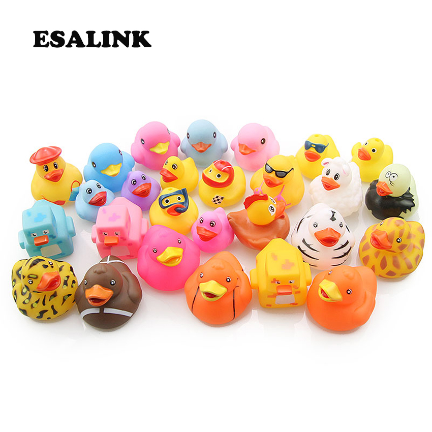 ESALINK 10PCS Random Mini Colorful Rubber Float Squeaky Sound Duck Bath Toys Baby Water Pool Funny Toys for Girls Boys Gifts(China)