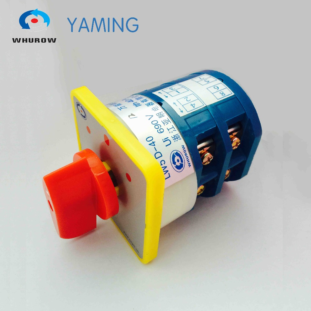 цена на Yaming electric 3 position manual changeover switch 40A 690V 2 phases rotary switch knob commutateur rotatif LW5D-40/2