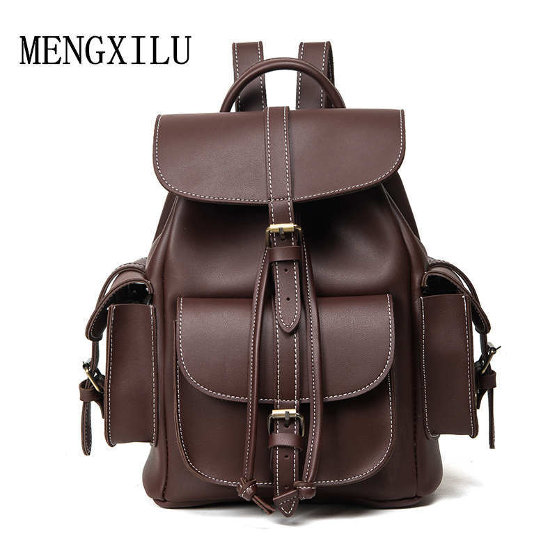 Famale England Style Designer High Quality Pu Leather Backpack Men Sac A Dos Black 2017 New Famous Brand Bag Women Backpack