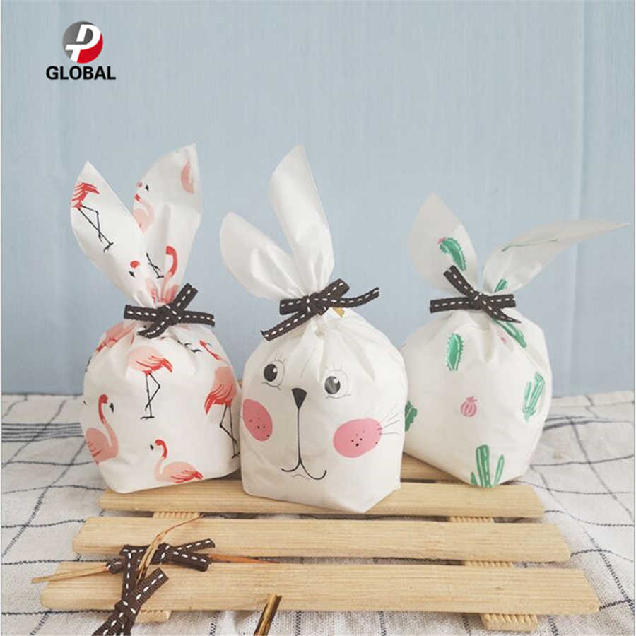 D&P 30/50pcs Cute Rabbit Ear Cookie Bag Gift Bag  For Candy Biscuits Snack Baking Package Wedding Favors Gifts Easter decoration
