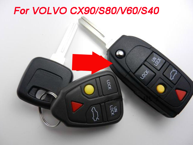 5PCS/lot For <font><b>Volvo</b></font> XC90 S80 V60 <font><b>S40</b></font> Modified <font><b>Replacement</b></font> Flip Folding Remote <font><b>Key</b></font> Shell Case 5 Buttons Fob <font><b>Key</b></font> Cover image