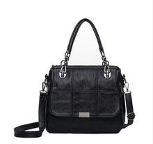 f4c84996b9fc Design Women Handbag Genuine Leather Vintage Solid Check Shoulder Bag Lady Tote  Messenger Crossbody Bags Purse