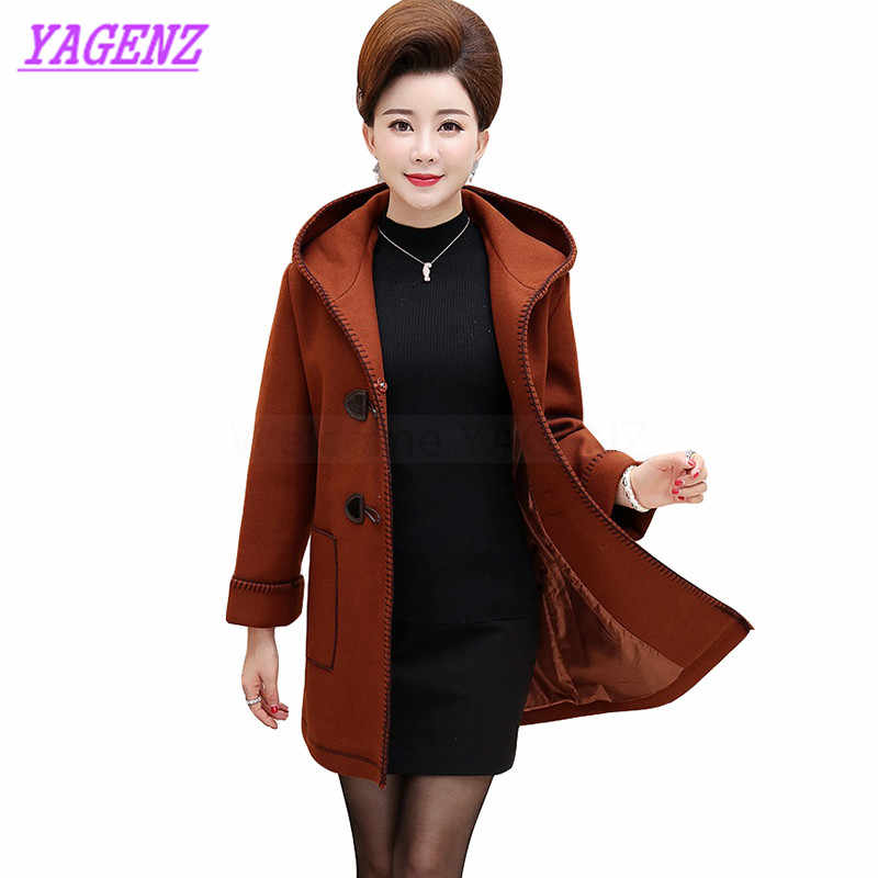 Plus size XL-5XL Autumn Winter Woolen Jacket Women Fashion Loose Long Wool coat Middle-aged women Upscale Hooded Overcoat B275