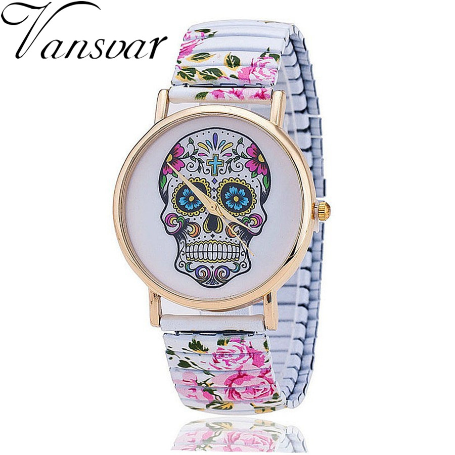 Vansvar Brand Fashion Skull Gothic  Flower Watches Casual Women Wristwatch Relogio Feminino 821
