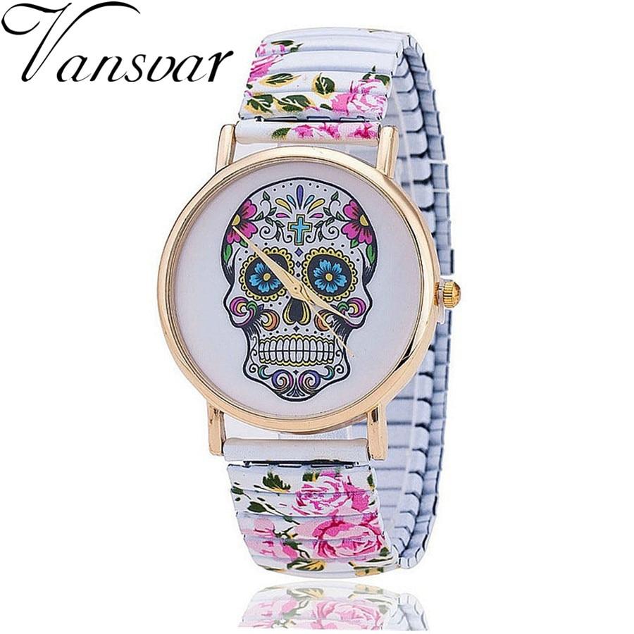 Vansvar Brand Fashion Skull Gothic  Flower Watches Casual Women Wristwatch Relogio Feminino 821