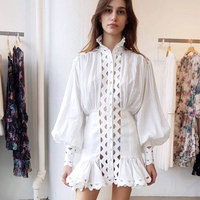 High Quality Women New Fashion Sexy White Dress Long Sleeve Hollow Out Mini dress Ruffled Style Elegant Party Dress Vestidos