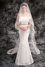 2016 Real Velos De Novia Veu De Noiva Free Shipping Wholsale Hot Sale In Stock One Layer Veils Tulle Ribbon Wedding Veil Bridal