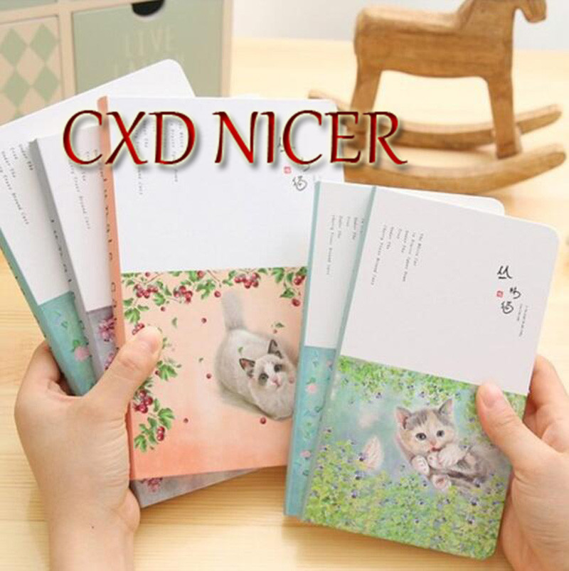 Cute Cat Notebook Stationery 96 Sheet Horizontal Line Fresh Diary Book Japanese Style Simple Notepad creative pure and fresh japanese style notepad 32k blank notebook hand diary south korea