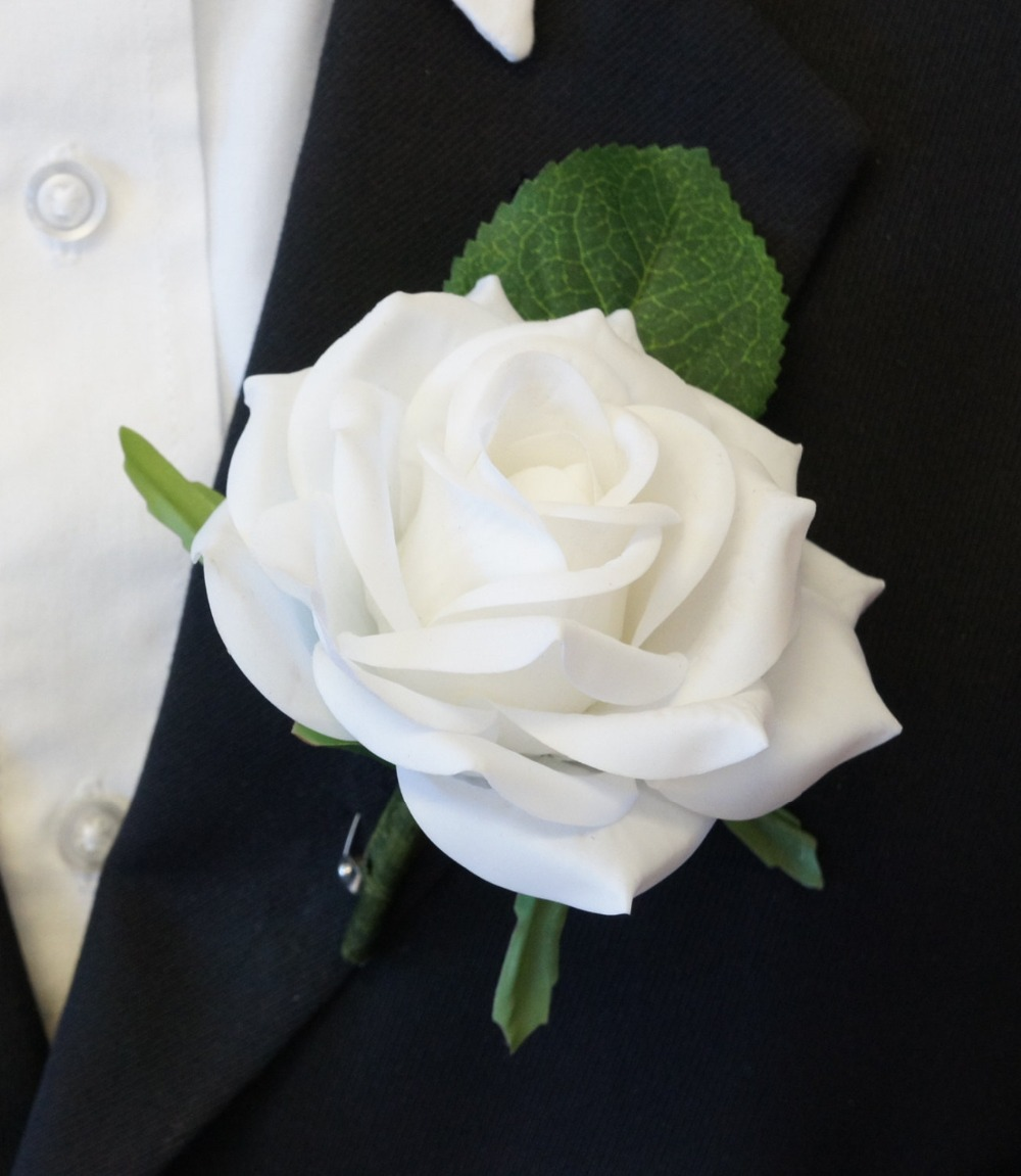 wedding party rose boutonnieres mens red white boutonnierereal touch rose for groom bestmen parents brother sisters in artificial dried flowers from - Garden Rose Boutonniere