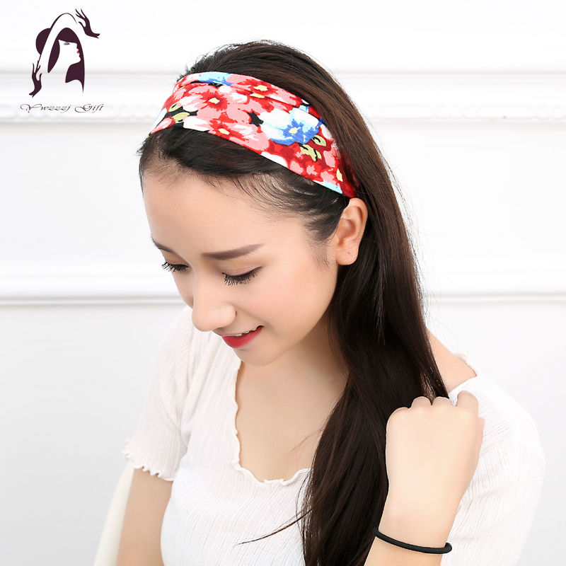 Fashion Women Elastic Headband Floral Head Wrap Girl Turban Hair Accessories Retro Party Apparel Hair Bands 2017