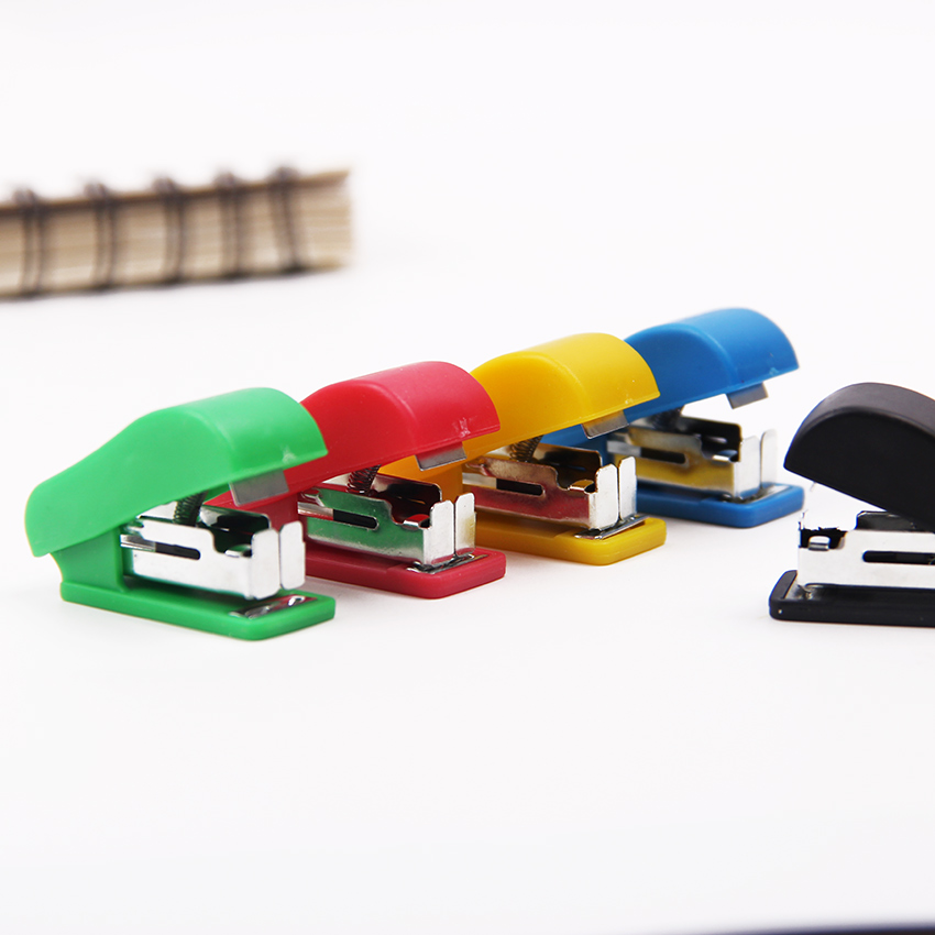 1PC Mini Stapler With Staples Set Plastic Stapler Paper Mini Binder Office School Stationery Paper Binding Binder Book