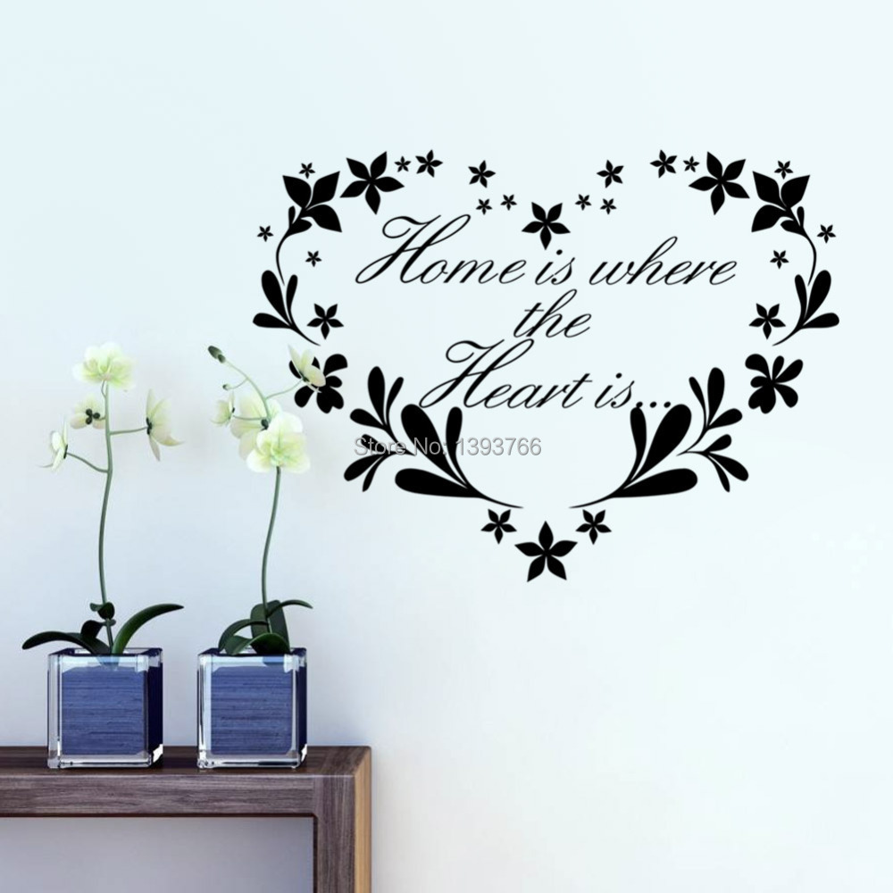 Home is where heart decor creative quote wall
