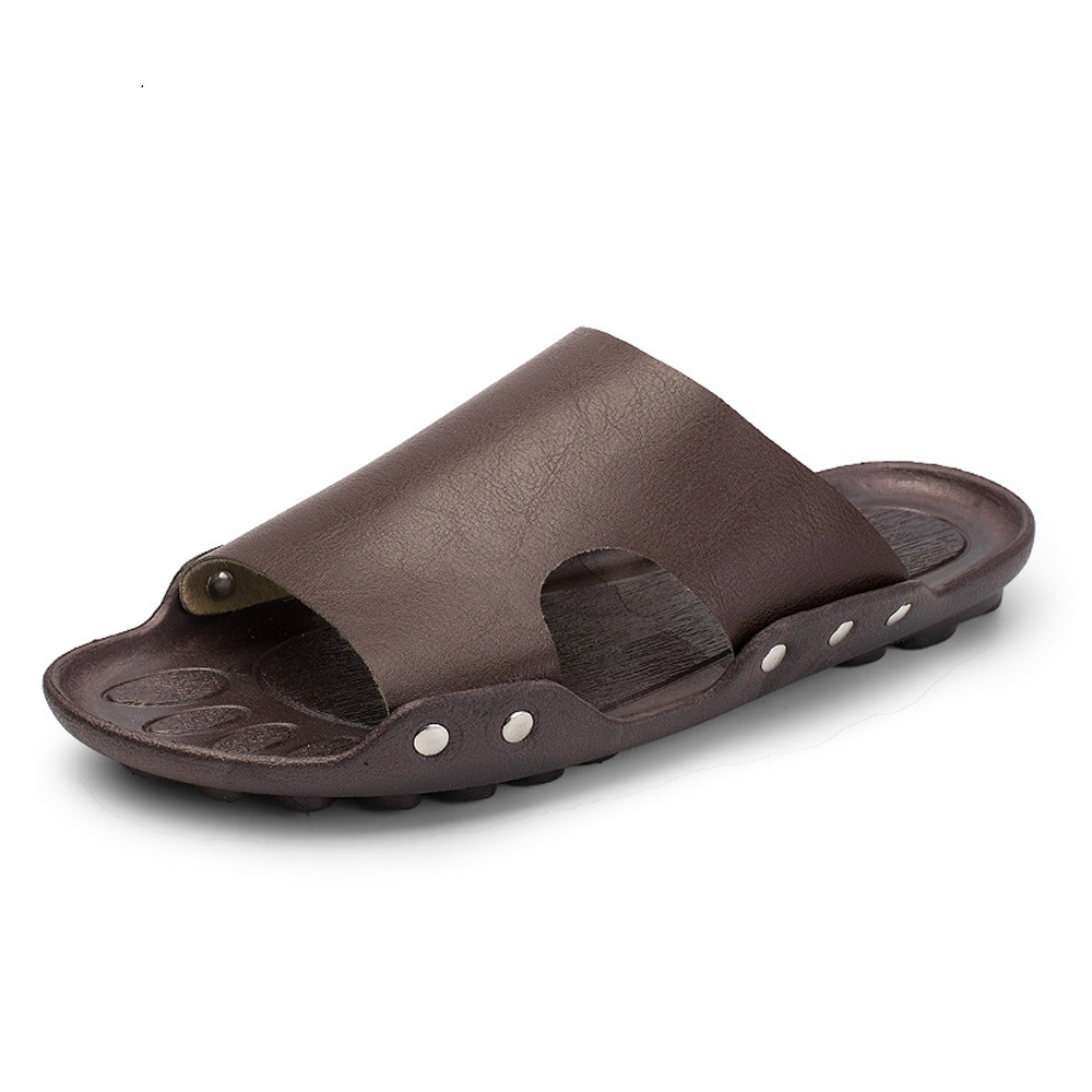 797477868cd71e SUROM 2018 Summer Beach Flip Flops Mens PU Leather Sandals Male Flat Slides  Outdoor Rubber Thong Beach Shoes ...