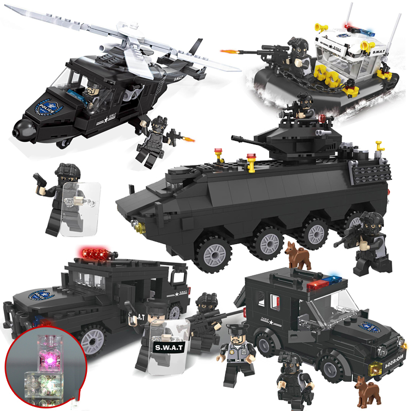 KAZI Ship Helicopter Truck Armored Car SWAT Police With Weapon Series Building Block Brick Educational Toys For Children Gifts