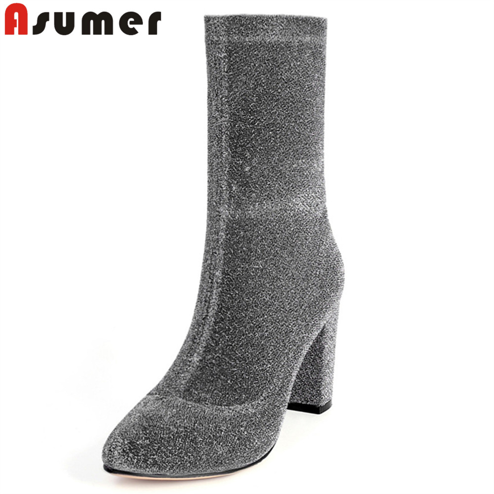 ASUMER 2018 hot sale new arrive women boots zipper black silvery ladies boots round toe classic sexy ankle boots autumn winter asumer 2018 hot sale new arrive women boots round toe black white pink ladies boots keep warm winter knee high boots