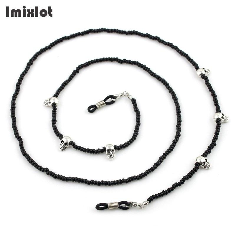 Imixlot Gothic Style Skull Head Design Black Bead Glasses Chain Men's Eyewear Cord Reading Glass Neck Strap