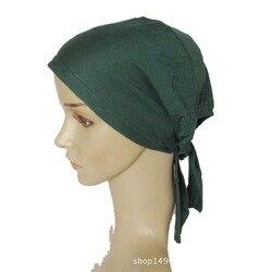 45 CORES Completa Cobertura Cap Cabeça Chapéu Desgaste Islâmico Underscarf Algodão Muçulmano Hijab Inner Óssea Bonnet Lenços Turco muçulmano headcover